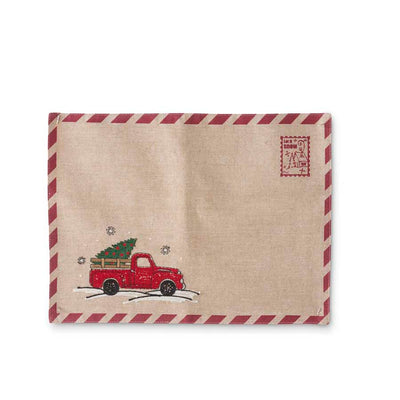 Linen Placemat with Christmas Tree in Vintage Red Truck