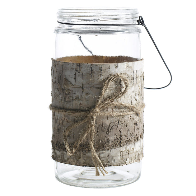 "Birch Wrapped Jar with Jute Bow (4.5""x8.5"")"