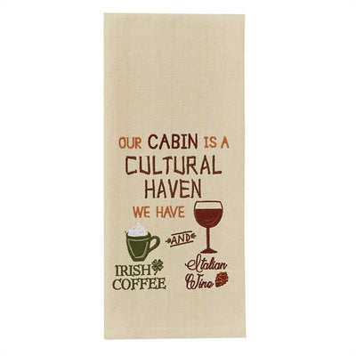 Our Cabin Embroidered Dish Towel