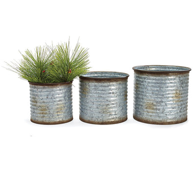 Ribbed Glavanized Tin Planters