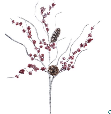 Birch Berry and Pinecone Spray 27""