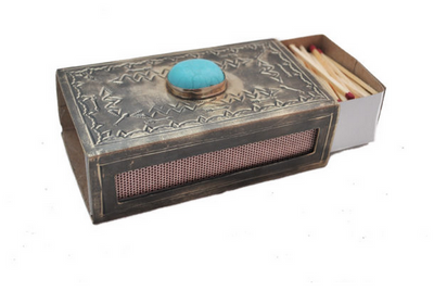 J. Alexander Stamped Matchbox Cover with Turquoise