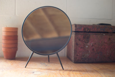 Round Metal Table Top Mirror