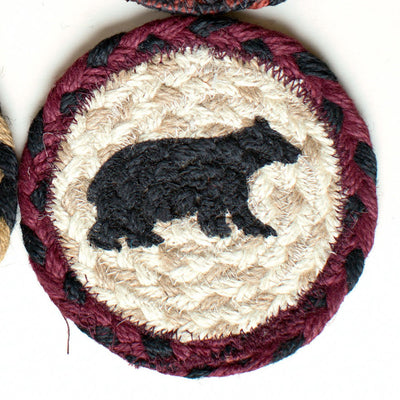 "Cabin Bear with Red and Black Border Capitol Earth 5"" Coaster"
