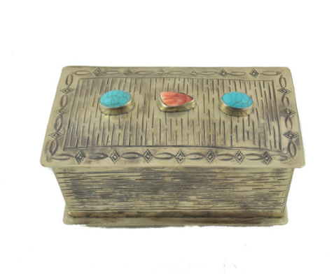 J. Alexander Stamped Basket Box with Stones