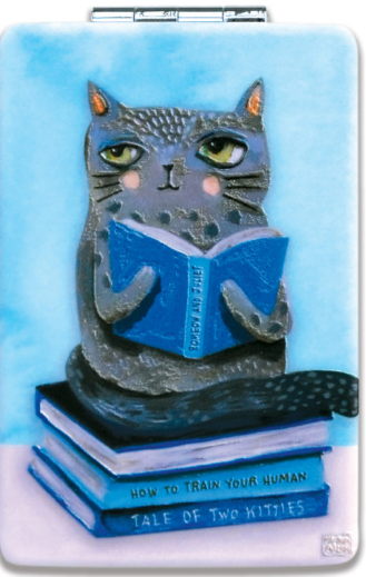 Cat & Books Compact Mirror