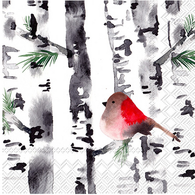 Bird in Birch (Beverage Napkin)