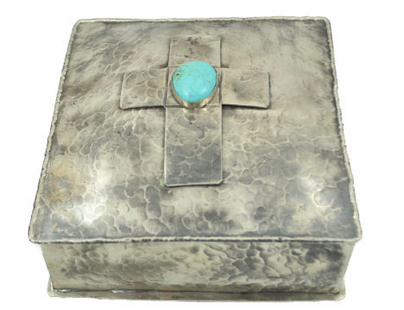 J. Alexander Silver Box w/ Dimples and Cross w/Turquoise Stone