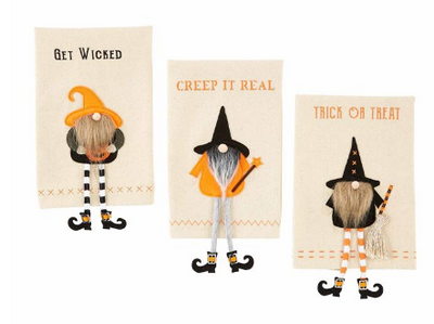 Halloween Dangle Leg Gnome Witch Towel