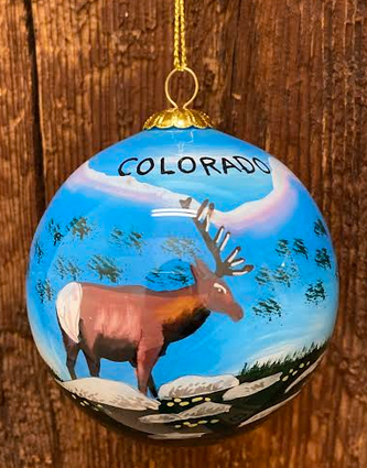 Winter Blue Sky Elk Colorado Ornament