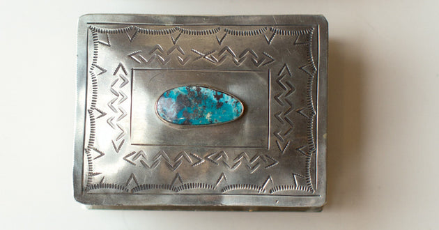 "J. Alexander Silver and Turquoise Box (4""x3"")"