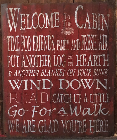 """Welcome to the Cabin"" Metal Art (COR1502)"