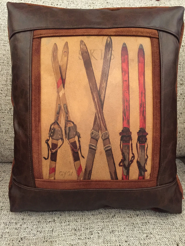 Skis Faux Leather Pillow