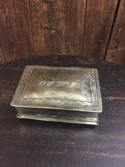 "J. Alexander Stamped Silver Box w/ Single Arrow Icon (4.25"" x 6"")"