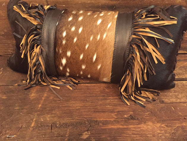 Axis Fur with Brown & Tan Leather Fringe Pillow