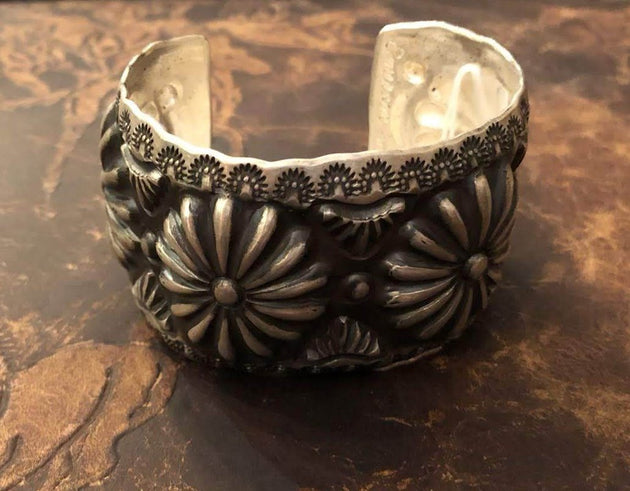 Floral Stamped Sterling Silver Cuff by: Emerson (SA38)