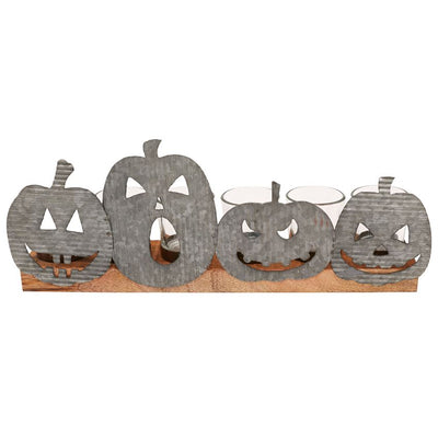 Jack-O-Lantern Tin Votive Holder Set
