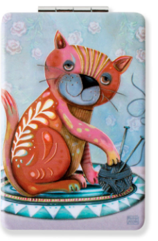 Knitting Kitty Compact Mirror