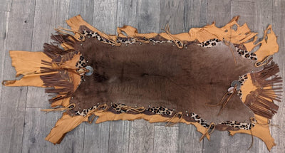 Leather & Hide Table Runner with Leopard Print Accent
