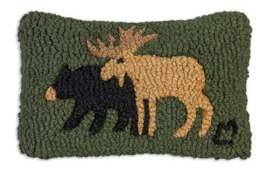 Moose and Bear Wool Pillow