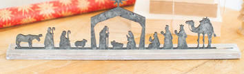 Metal Nativity on Wood Stand