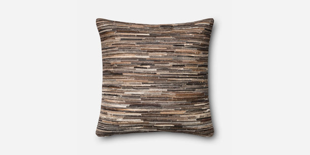 Brown Leather and Cowhide Strips Pillow (P0383 / Brown)