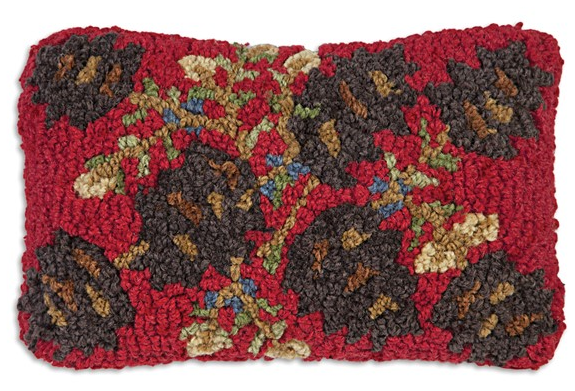 Pinecones On Red Wool Pillow