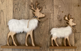 Wood Reindeer with White Faux Fur