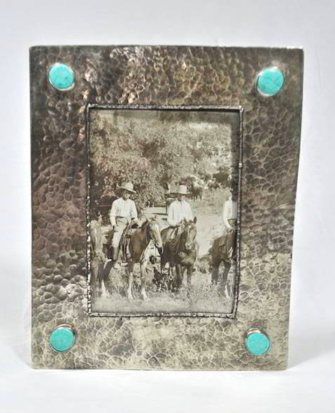 J. Alexander Silver Frame with Dimples 4 Turquoise Stones (5x7)