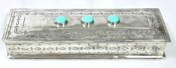 "J. Alexander Long Stamped Box with 3 Turquoise Stones (12""x4"")"