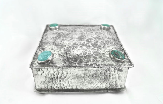 "J. Alexander Square Box with Dimples and 4 Turquoise Stones (6""x6"")"