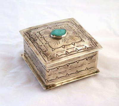 "J. Alexander Square Stamped Box with Turquoise (4""x4"")"