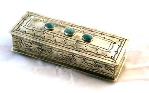 "J. Alexander Stamped Eyeglasses Box with Turquoise (8""x2.75"")"