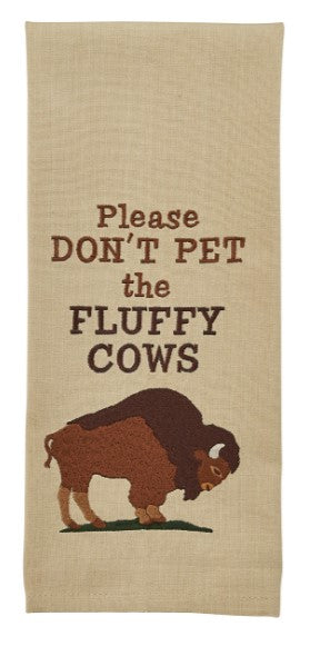 Fluffy Cows Embroidered Dishtowel