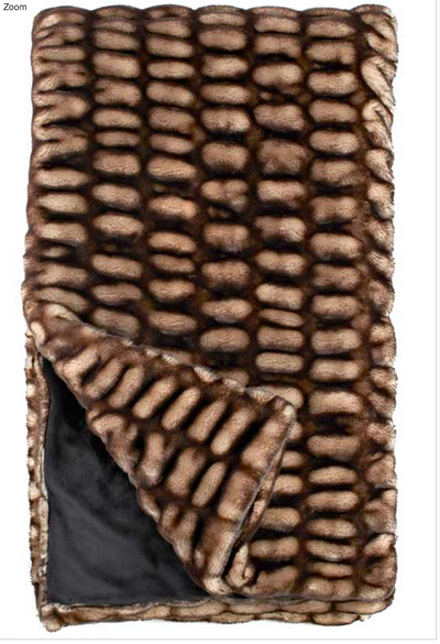 Shadow Mink Faux Fur Throw Blanket