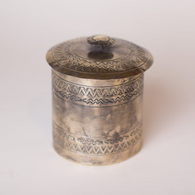 "J. Alexander Medium Stamped Lidded Canister (6""x6"")"