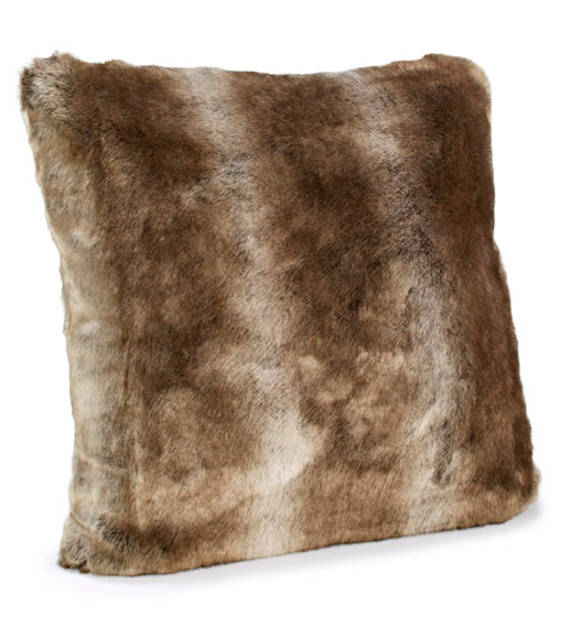 Timber Wolf Faux Fur Pillow
