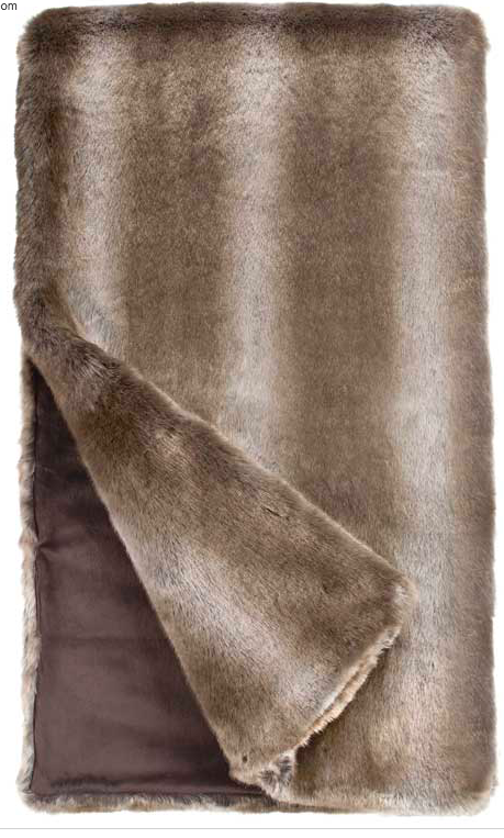 Timber Wolf Faux Fur Throw Blanket