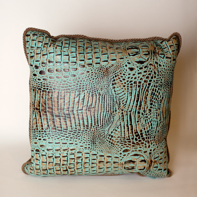 Turquoise Alligator Pillow