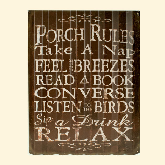 """Porch Rules"" Metal Art (COR1505)"