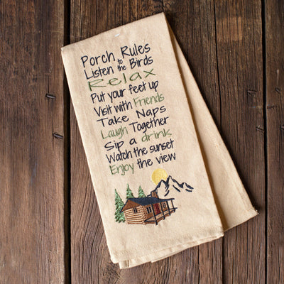 Porch Rules Dish Towel