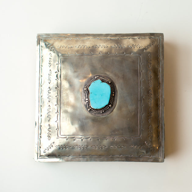 "J. Alexander Large Stamped Box with Turquoise  (12""x12"")"