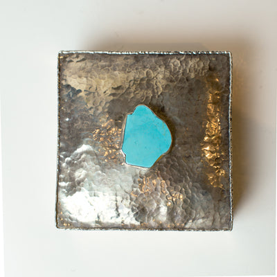 "J. Alexander Square Box with Dimples and Large Turquoise Stone (8""x8"")"