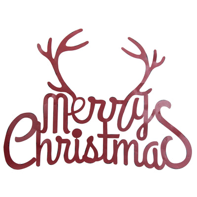 Merry Christmas with Antlers Wall Sign