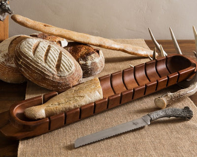 Baguette Board with Antler Bread Knife