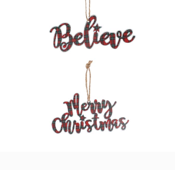 Tartan Believe/Merry Christmas Ornament