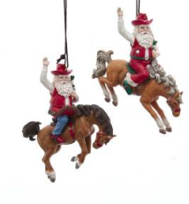 Santa on Bronco Ornament
