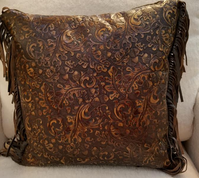 Acorn Leaf Embossed Leather Pillow with Fringe