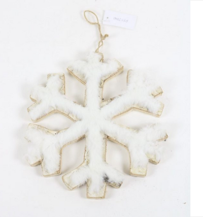 Birch Faux Fur Snowflake Ornament