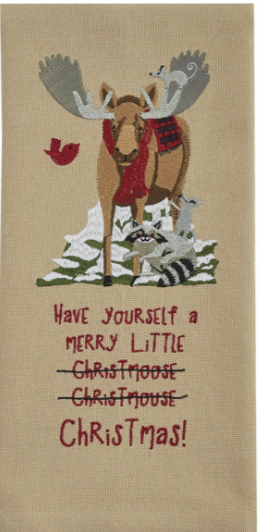 Merry Little Christmoose Embroidered Dish Towel